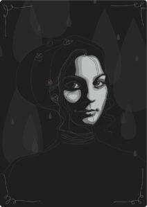 Autoportrait vectoriel sombre presque en noir et blanc.