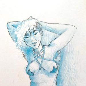 Croquis bleu